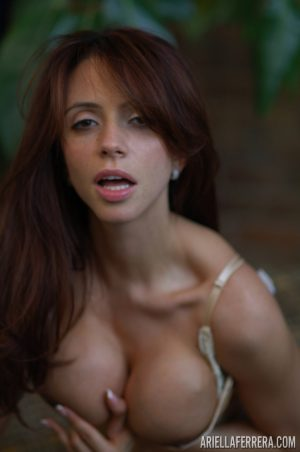 Latina chick Ariella Ferrera licks her lips after giving a BJ in sexy lingerie