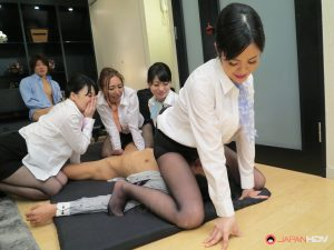 Hot Japanese business ladies get their cunts creampied in an orgy