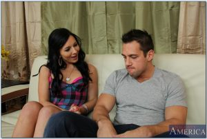 Black haired neighbor Loni Evans seduces a guy & gets her twat stuffed deeply