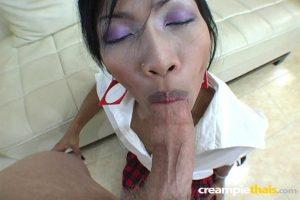 Asian schoolgirl Gik fucks a sex tourist in white stockings