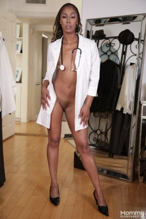 Lovely nurse Misty Stone having nothing on her except her nurse outfit