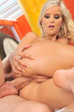 Blonde pornstar Marry A takes massive penis in the ass cowgirl style