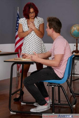 Redhead MILF Ryder Skye gets fucked hard in the classroom and gets a facial
