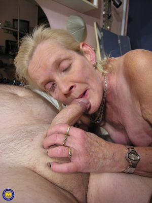 Mature blonde Loreen gives head before getting her juicy twat pounded