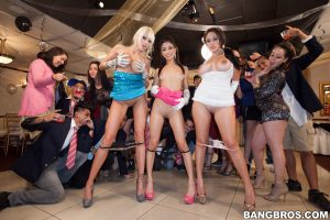 Insatiable pornstars strip at the house party & show off their curvy bodies