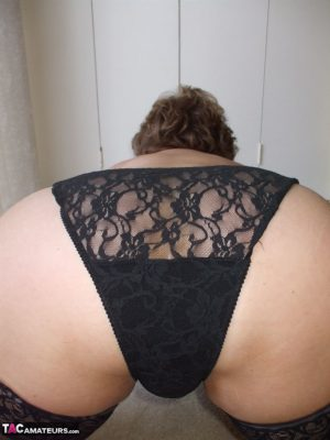 Classy mature amateur Busty Bliss modelling in lace panties before POV blowjob