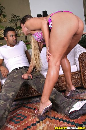 Dirty Latina Alexxis bares her big ass and bends over to get fucked doggystyle