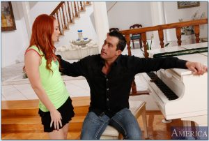 Sexy redhead Dani Jensen gets her hairy pussy stretched by a fat prick