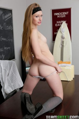 Slender blonde student Avril Hall performs a hot detention strip & spread