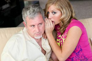 Pretty young MILF Chastity Lynn stays fully clothed for oldman seduction