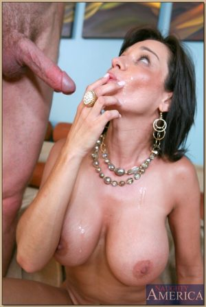 Big boobed cougar Mishka tastes hot jizz after being fucked by a stud