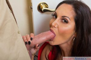 Dark haired cougar Ava Addams seduces a younger boy in short shorts