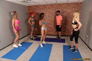 Clothed babe Lacey Taste and her friends satisfy a guy after a yoga session