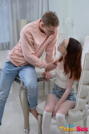 18-year-old nerd Lottie Magne gets her innocent pussy banged deep on the table