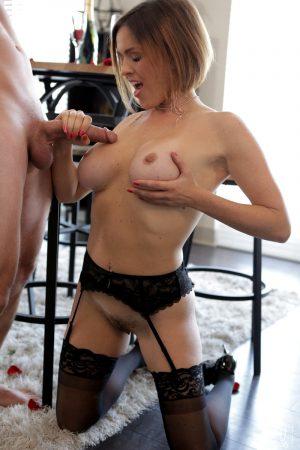 Hot MILF Krissy Lynn sports cum on tits after fucking her man friend