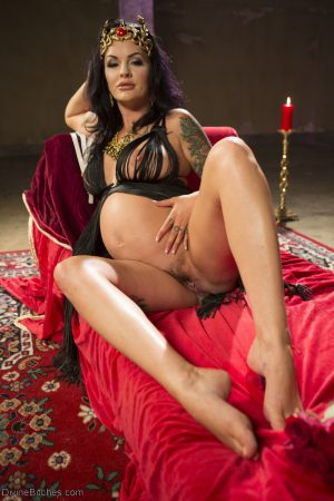Pregnant goddess Lola Luscious teasing a male sub in sexy lingerie
