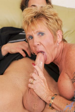 Granny in stockings Honey Ray rides a throbbing cock & takes a cumshot