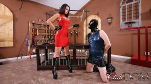 Domme in a red dress Kiki Klout whips her sex slave and gets her muff toyed