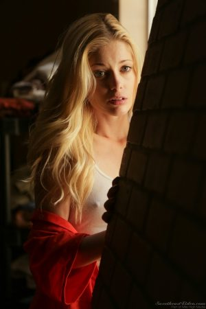 Hot blonde clothed model Charlotte Stokely strips to expose tiny tits & ass