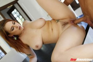 Chubby female with a trimmed bush gets jizz on her hooters after fucking