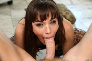 Lusty mom with natural tits Dana DeArmond gets face fucked after tits flashing