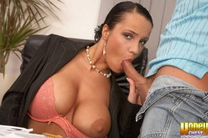 Beautiful secretary Laura Lion ends up with her boss's jizz on her big tits