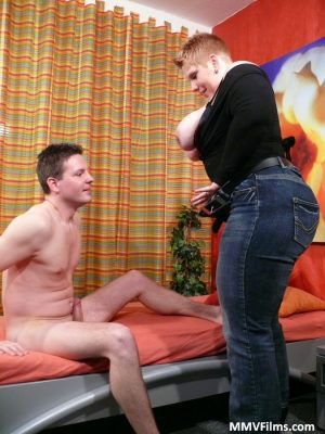 Obese female with short hair gets banged in a studio wearing stockings & heels