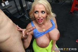 Blonde cougar Alura Jenson reveals her huge tits & gets rammed through tights
