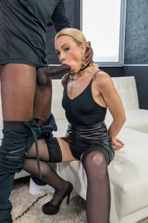 Stunning blonde mom Rebecca Black gets tied up and blacked anally