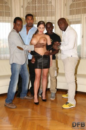Big titted chick Cathy Heaven gets gangbanged by willing black studs