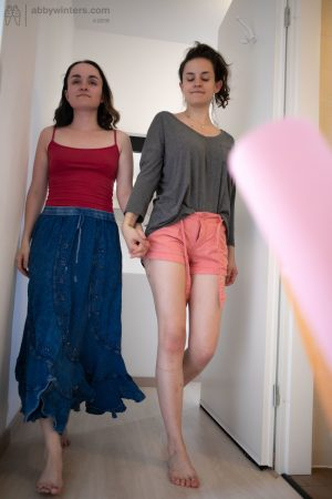 Skinny teens with black hair Charlee and Sienna G dressing together
