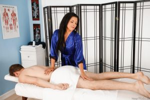 Brunette cougar Danica Dillon seduces and fucks a younger man during a massage
