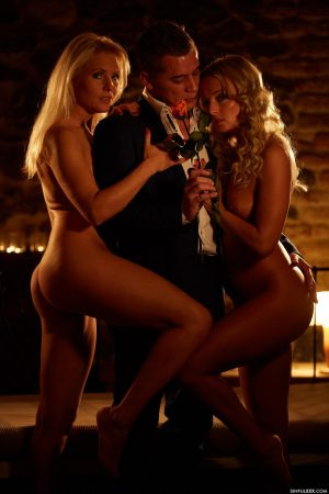 Blondes Kathy Anderson & Victoria Pure share a sexy businessman in a threesome