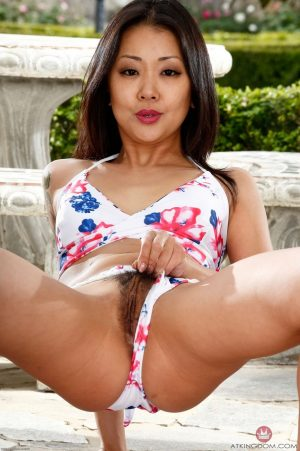 Skinny Asian MILF Saya Song takes her bikini off and shows her delicious holes