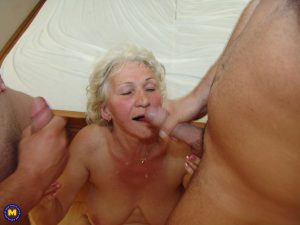 Big titted granny enjoys hardcore threesome piss action & gets cum on her face
