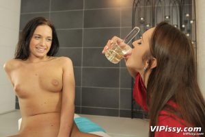 Lesbians Naty Lee and Donna Joe piss on each other in the bathroom
