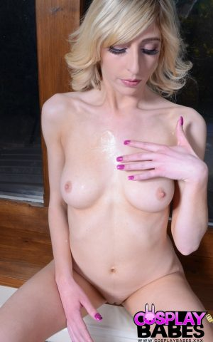 Totally naked blonde Jessica Jensen sucks off two men in cosplay outfit