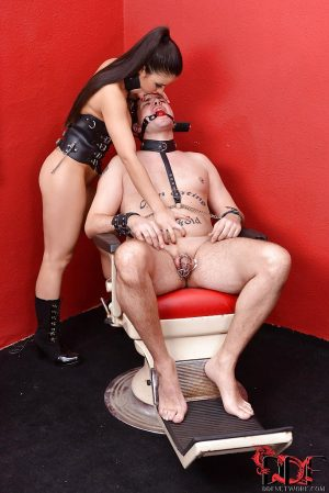 BDSM princess humiliates her sex slave while another guy fucks her ass