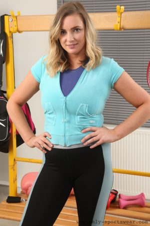 Chubby European babe Stacey M poses in hot sportswear & strips her socks off