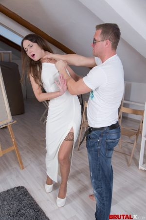 Skinny babe is nylons Angie Moon fucked like a bitch for being bad girl