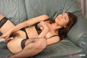 Japanese wife Erika Hiramatsu tries out her new sex toys on her hairy pussy