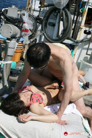 Horny Asian babe Mao Hosaka exposes her big tits and gets rammed on a boat