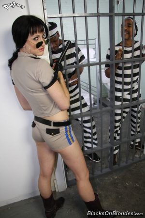 Female prison guard Dylan Ryan gets double fucked by two black inmates