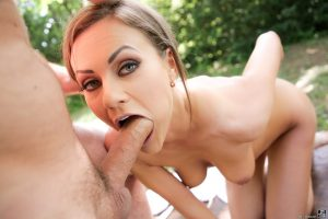 Bombshell Tina Kay gets her booty stretched out and mouth jizzed in the park