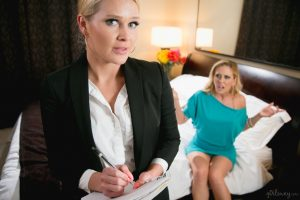 Blond chicks Abby Cross & Cherie DeVille solve their problems with lesbian sex