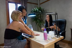 Blonde MILF Krissy Lynn gets stripped and toyed by two Asian honeys