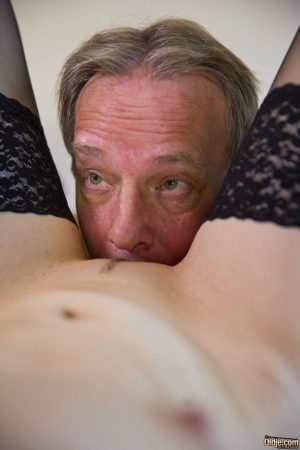 Skinny sex kittens get their pussies serviced by old men in a kinky gangbang