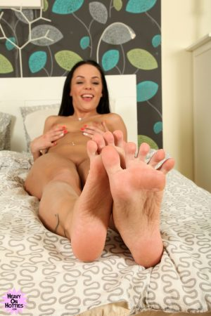 Petite doll Angelina Wild gets naked at the casting to show her holes & feet
