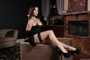 Asian MILF takes off her dress to expose her amazing body in stockings