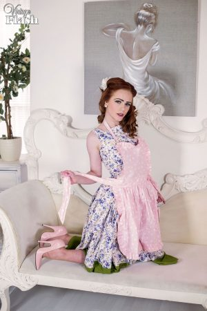 Solo model Ella Hughes releases her nice ass from vintage lingerie